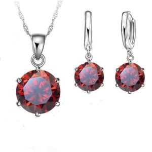New Red Cz SS Necklace & Dangle Earrings Set